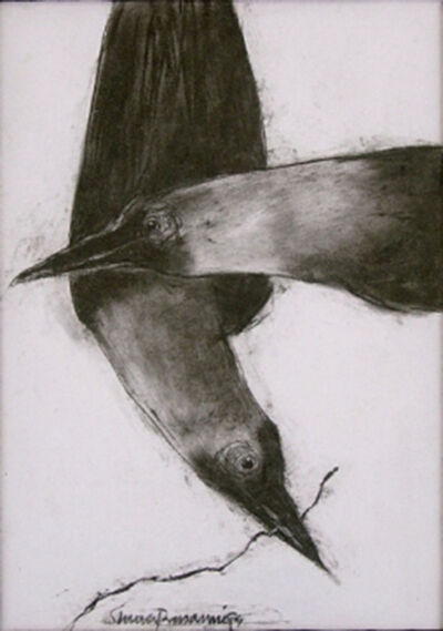 """Subhaprasanna Bhattacharjee, 'Crow, Animal Drawing, Conte on paper, Black, White By Modern Artist """"In Stock""""', 1994"""