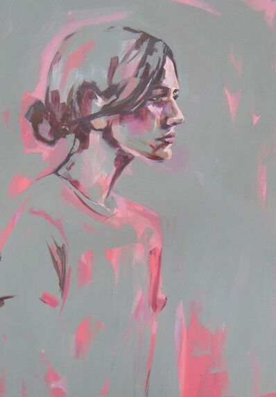 Flo Lee, 'Pink and Grey, original signed great reviews vibrant portrait ', 2019