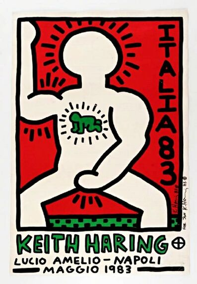 Keith Haring, 'Italia 83, Lucio Amelio Gallery, Napoli, signed and inscribed to Andy Warhol's last boyfriend Jon Gould, acquired directly from the Gould Estate', 1983