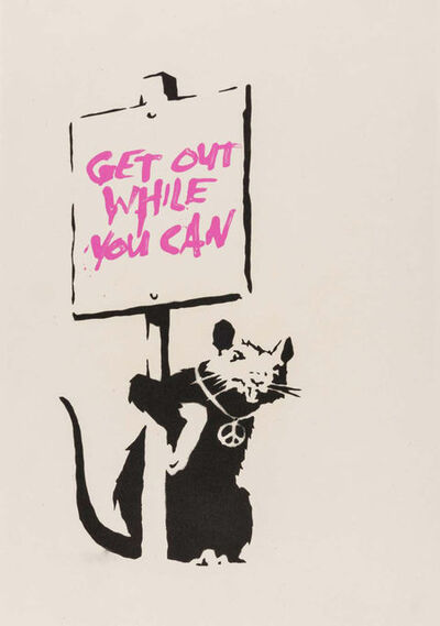 Banksy, 'Get Out While You Can (Pink) - Unsigned', 2004