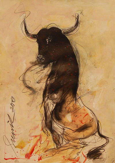 Sunil Das, 'Bull, Bullfighting, acrylic & charcoal by Padma Shree awardee by the Govt. of India, Artist Sunil Das', 2009