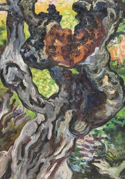 Carlo Levi, 'Tronco d'albero - il carrubo dietro la baracca con Guido e Marcella sullo sfondo', 1971