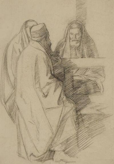 William Rothenstein, 'Talmudic Discussion', ca. 1904