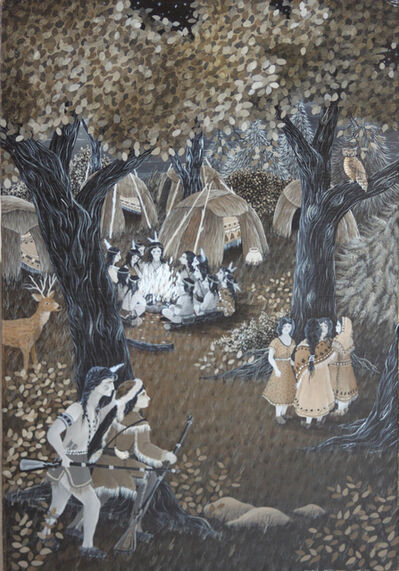 "Robert Lo Grippo, '7 Folk Naive Paintings by Robert Lo Grippo for J.F.Coopers""Deerslayer""-Similar to Horace Pippin', 1983"