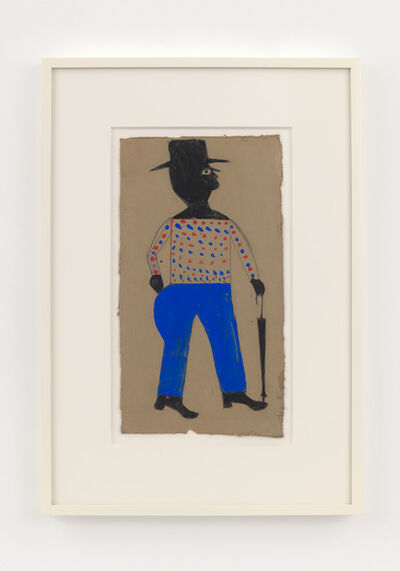 Bill Traylor, 'Man with Spotted Shirt, Hat, and Umbrella', 1939-1942