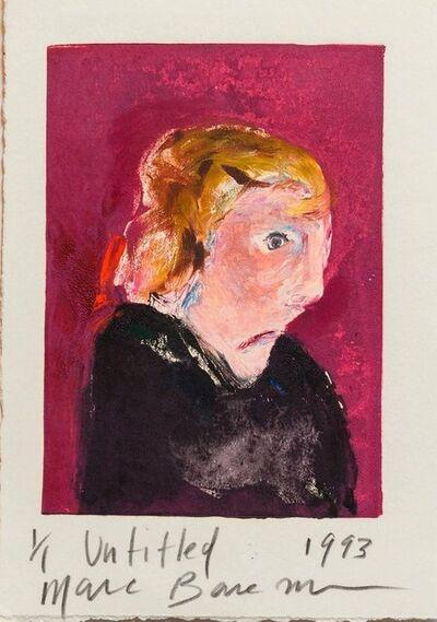 Marc Baseman, 'Oil Monoprint Portrait Painting on Paper 1/1 Neo Expressionist', 1990-1999