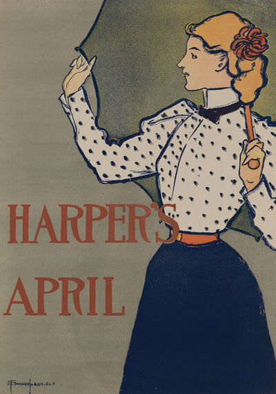 Edward Penfield, 'Harper's April 1897 - Woman with Umbrella', 1897
