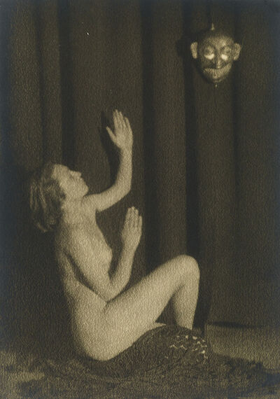 Germaine Krull, 'Nude figure with a theatrical mask', Circa 1925