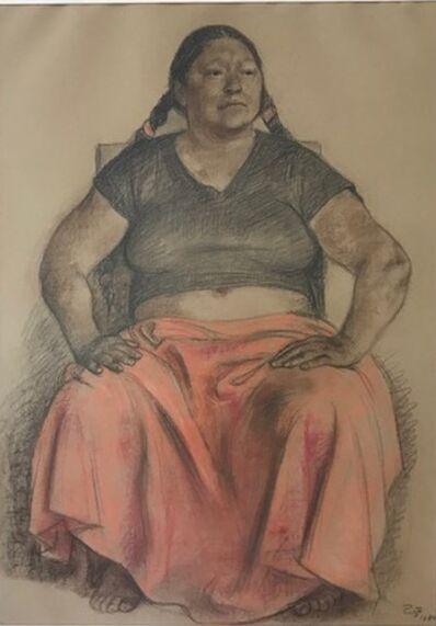 Francisco Zúñiga, 'Mujer sentada con falda roja', 1980