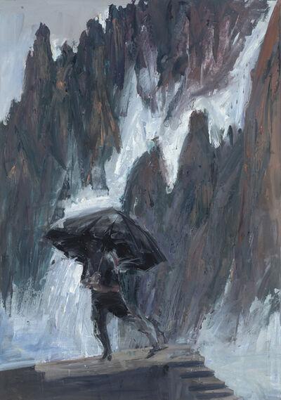 Euan Macleod, 'Black Umbrella Yellow Mountain ', 2016