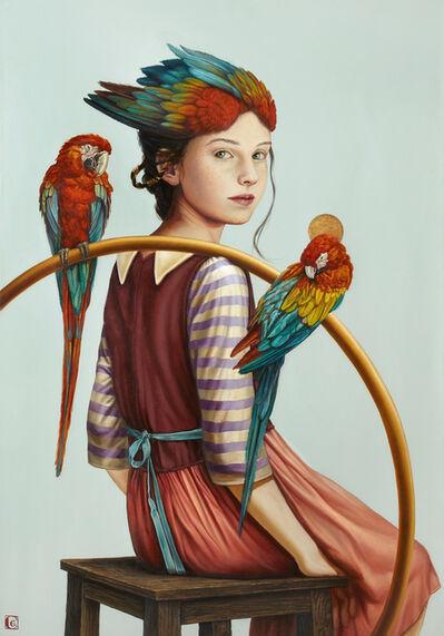 Claudia Giraudo, 'Giovane adolescente con due pappagalli', 2018
