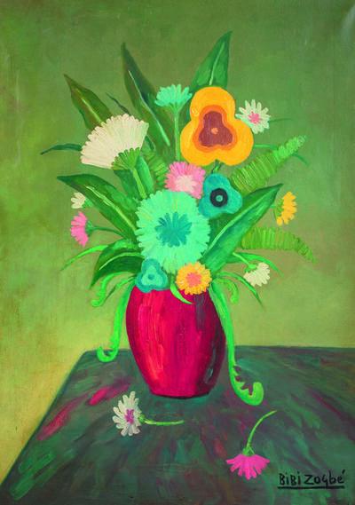 Bibi Zogbe, 'Bouquet au vase rouge'