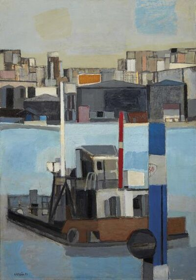 Antonio Scordia, 'Coastal storage and barge', executed in 1951