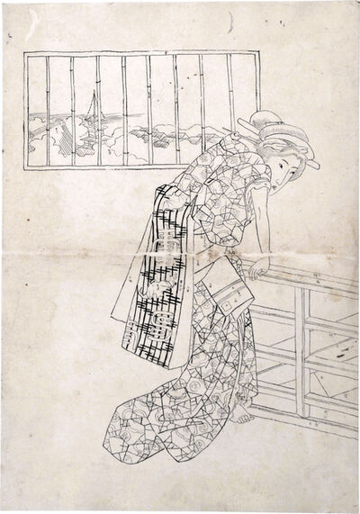 Utagawa School, 'Preparatory Drawing of a Beauty Leaning Over a Staircase Railing Next to a Window', ca. 1830s