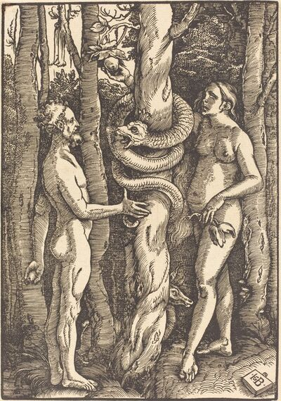 Hans Baldung, 'Adam and Eve with Serpent', 1514