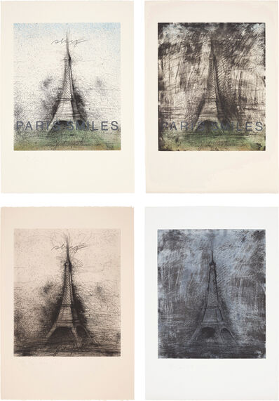 Jim Dine, 'Paris Smiles; Paris Smiles in Darkness; Retroussage Eiffel Tower; and Drypoint Eiffel Tower', 1976