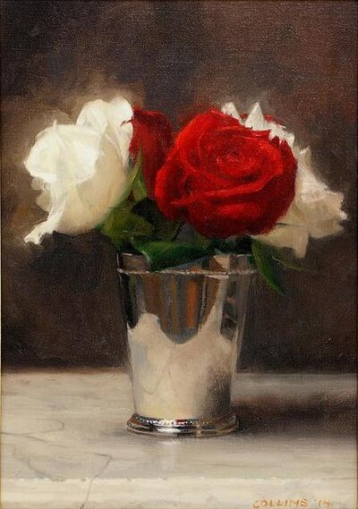 Jacob Collins, 'Red and White Roses in a Silver Cup', 2014
