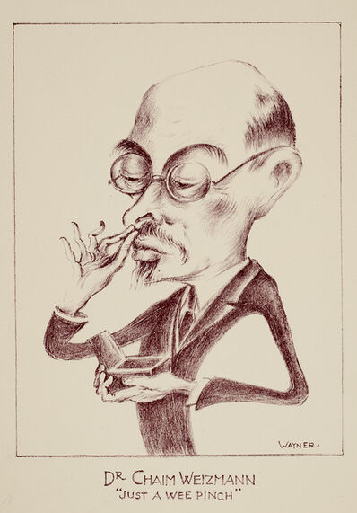 Mark Wayner, 'Celebrities in Caricature Portfolio, 30 of 37, Dr Chaim Weizmann, Just a Wee Pinch', ca. 1940