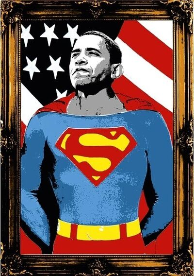 Mr. Brainwash, 'Obama Superman (Gold)', 2008