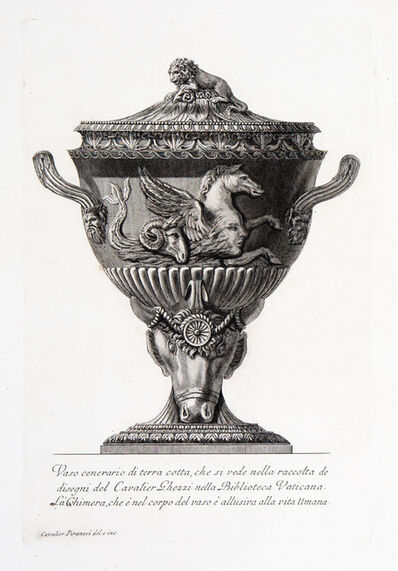 Giovanni Battista Piranesi, 'Cinerary vase of terracota with a sea horse in relief, from a drawing by Cavalier Ghezzi in the Vatican library.', 1773-1778
