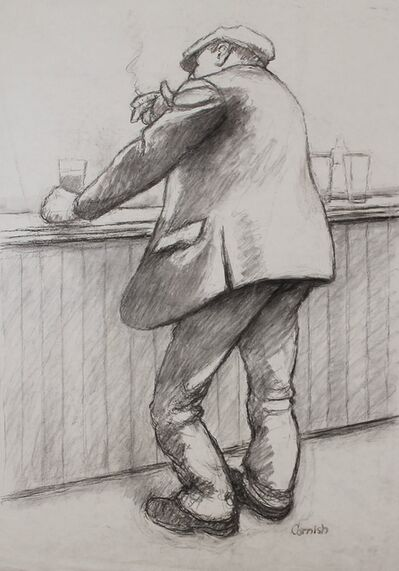 Norman Cornish, 'Man smoking at bar', ca. 1970