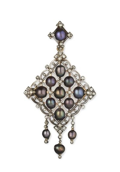 Bapst et Falize, 'Grey pearls and diamond pendant', ca. 1880