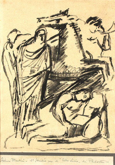 "Arturo Martini, '1st Study for the sculpture of ""Tito Livio"" in Padua realized in Carrara marble on 1942'"