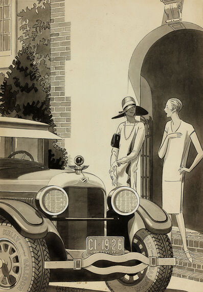 Laurence Fellows, 'Art Deco Women / Flappers in front of Packard  Classic Car', 26