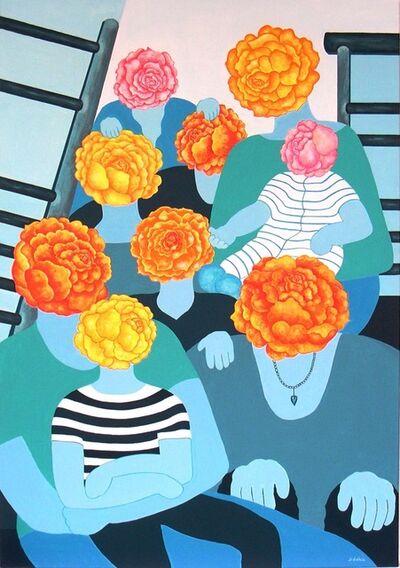Jocelyne Deschamps-Kus (Jideka), 'Roses assises sur l'escalier (Roses sitting on the steps)', 2014