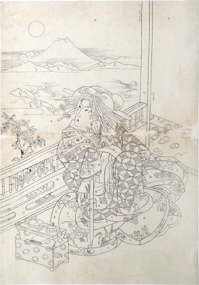 Keisai Eisen, 'Preparatory Drawing of a Beauty Seated on a Veradah with Mount Fuji Under a Full Moon in the Distance', ca. 1830s