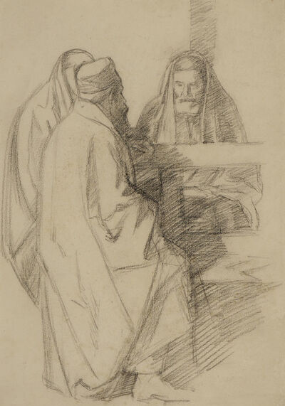 William Rothenstein, 'Talmudic Discussion', ca. 1905