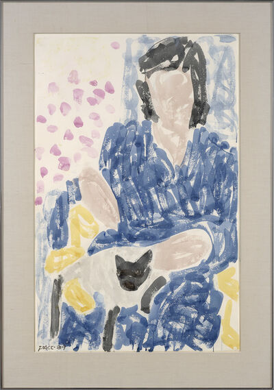Stephen Pace, 'Pam in Blue Robe, Cat', 1989