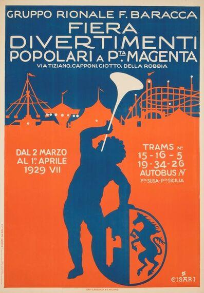 Giulio Cisari, 'FIERA DIVERTIMENTI POPOLARI A P.TA MAGENTA / GRUPPO RIONALE', 1928