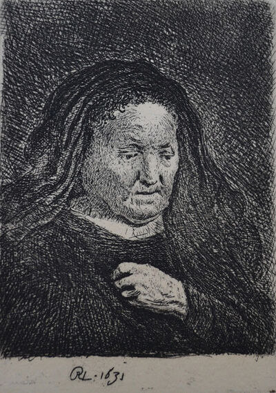 Rembrandt van Rijn, 'The Artist's Mother With Her Hand on Her Chest: Small Bust ', Etched in 1631, Printed in 1906 (Beaumont, Paris)