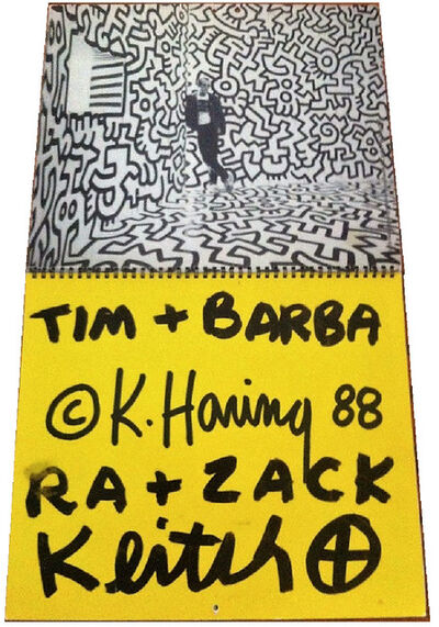 "Keith Haring, '""To Timothy Leary"", 1988, Keith Haring Calendar, Signed / Addressed to Timothy Leary and family,  Estate of Timothy Leary. ', 1988"
