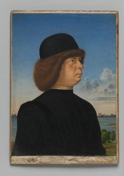 Jacometto Veneziano, 'Portrait of Alvise Contarini(?); (verso) A Tethered Roebuck', ca. 1485–1495