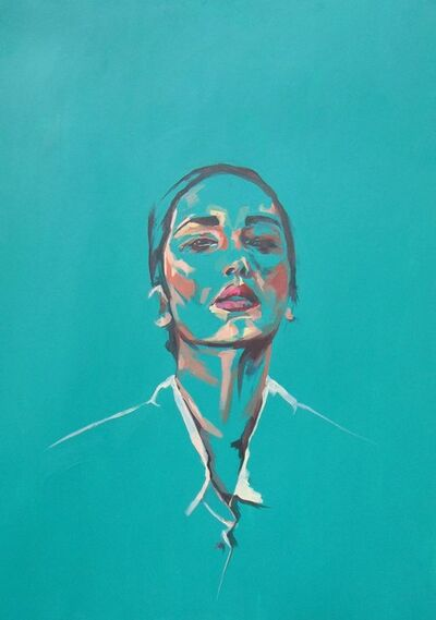 Flo Lee, 'Green, original signed great reviews vibrant portrait ', 2019