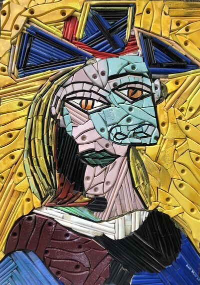 Finn Stone, 'Head of a Woman with blue hat red Ribbon, (Picasso Tribute 1939)', 2020