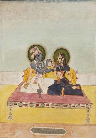 Miniatures, 'Krishna and Radha Exchanging Betel', ca. 1800