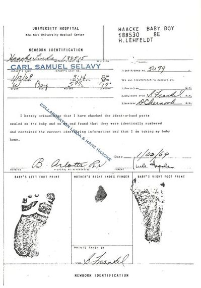 Hans Haacke, 'Birth Certificate of My Son (collaboration Linda & Hans Haacke)', 1969