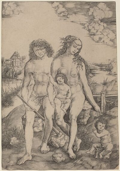 Christofano Robetta, 'Adam and Eve with the Infants Cain and Abel'