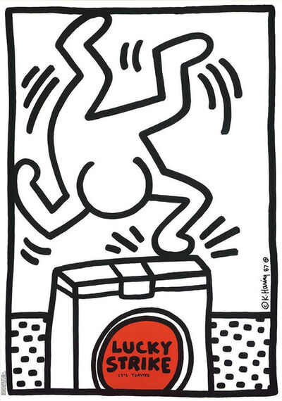 Keith Haring, 'Keith Haring Lucky Strike white ', 1987