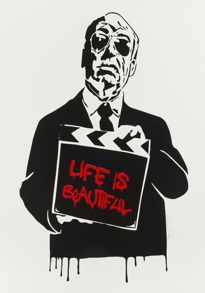 Mr. Brainwash, 'Alfred Hitchcock (aka Life is Beautiful) (Red)', 2008