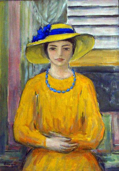 Henri Lebasque, 'Jeune fille a la robe et au chapeau jaunes', 1920