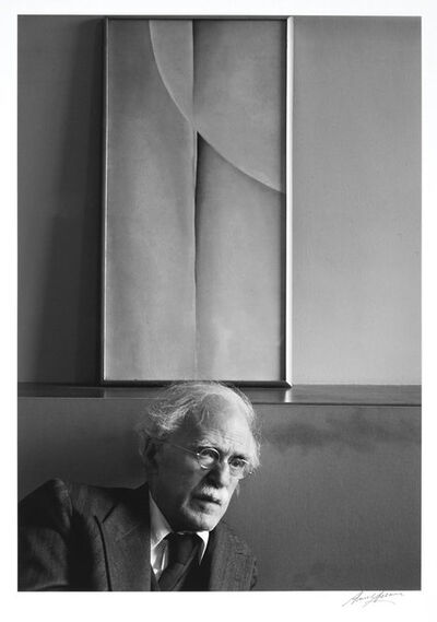 Ansel Adams, 'Alfred Stieglitz and Painting by Georgia O'Keeffe, at An American Place, New York City', 1939
