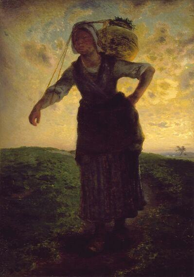 Jean-François Millet, 'A Norman Milkmaid at Gréville', 1871