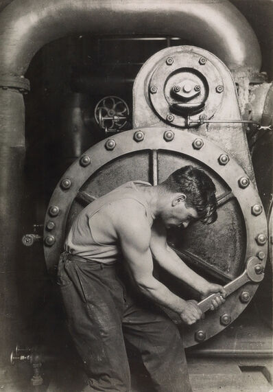 Lewis Wickes Hine, 'Mechanic at Steam Pump in Electric Power House', ca. 1921