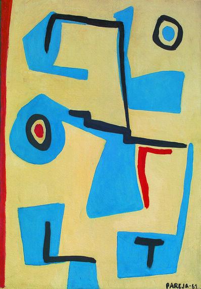Miguel Ángel Pareja, 'Formas en azul', 1961