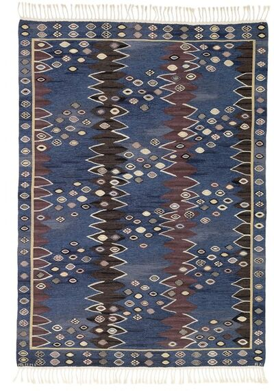 Barbro Nilsson, 'Snäckorna/The shells. Handwoven wool carpet in rölakan flat weave technique. Blue base with polychrome pattern.'