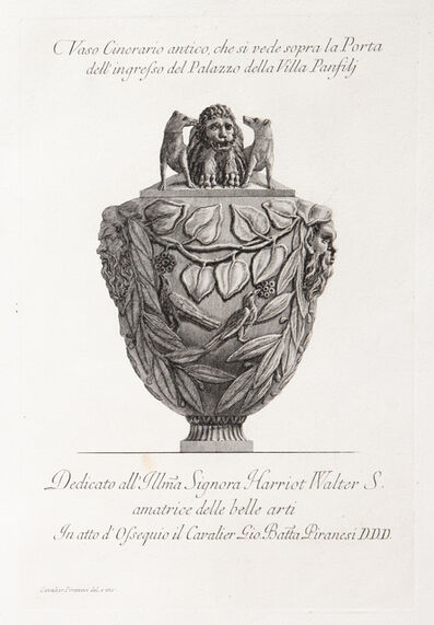 Giovanni Battista Piranesi, 'Funerary urn with lion worried by dogs on the lid.', 1773-1778